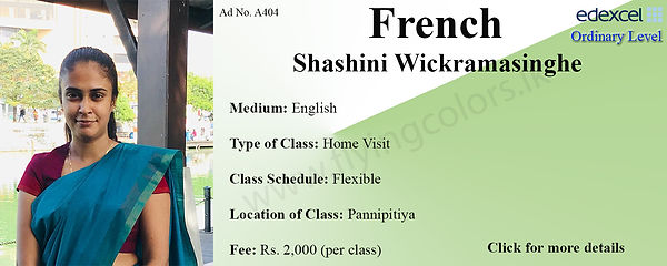 French Home Visit Edexcel O/L Tuition by Ms.Shashini in Pannipitiya, Colombo.