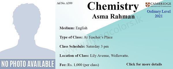 Chemistry Tuition for Cambridge O/L 2021 by Ms.Asma Rahman in Wellawatte, Colombo 6.