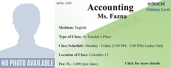Accounts Tuition in Colombo 15 Madampitiya / Mattakuliya / Modera Edexcel O/L