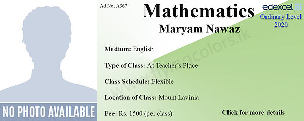 Maths Edexcel O Level Tuition in Mount Lavinia