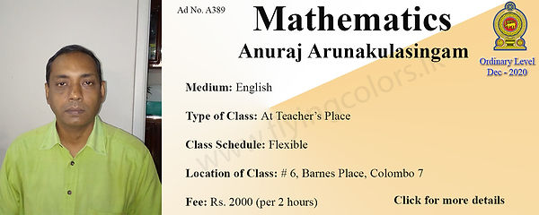 Mathematics National O/L Dec 2020 Tuition by Mr. Anuraj Arunakulasingam in Colombo 7