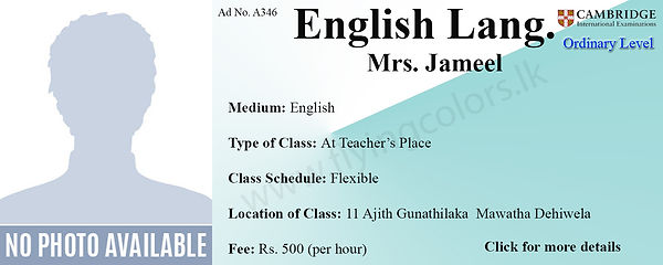 Cambridge O/L English Language Tuition in Dehiwala Colombo