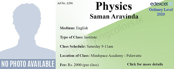 Physics Edexcel O/L Tuition in Colombo