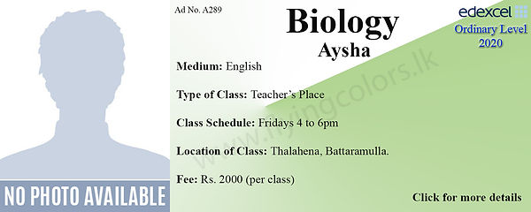 Biology Edexcel O Level Tuition in COlom
