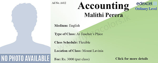 Accounting Edexcel O/L Tuition by Ms.Malithi in Mout Lavinia Colombo.