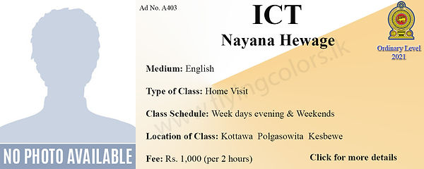 ICT 2021 Local O'Level Home Visit Tuition by Ms.Nayana in Colombo District Kottawa, Polgasowita, Kesbewa.