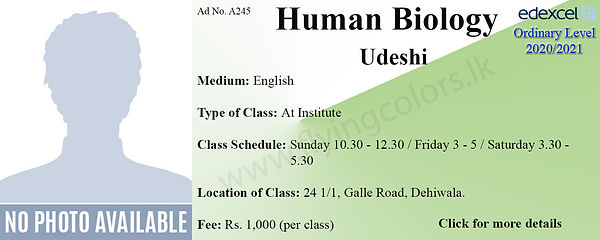Human Biology Edecel O Level Tuition in
