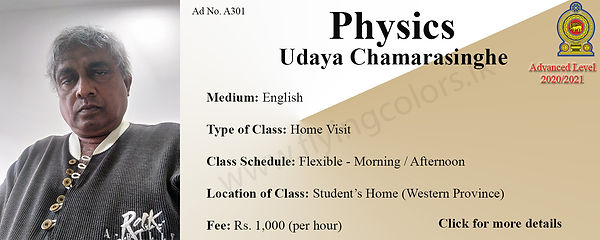 Physics Home Visit tuition GCE National A/L