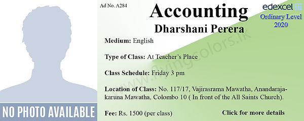 Accounts Edexcel OLs Tuition in Colombo