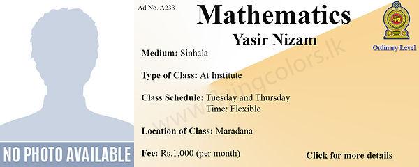 Maths National O Level Tuition in Maradana