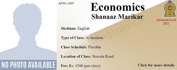 Economics Local A Level Tuition Sri Lank