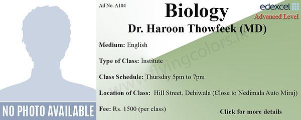 Biology Edexcel A/L Tuition by Dr. Haroon Thowfeek in Dehiwala Colombo