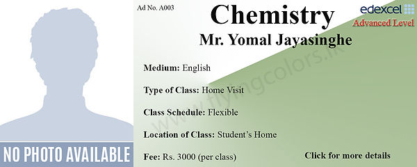 Home Visit Tuition for Chemistry Edexcel A/L in Colombo