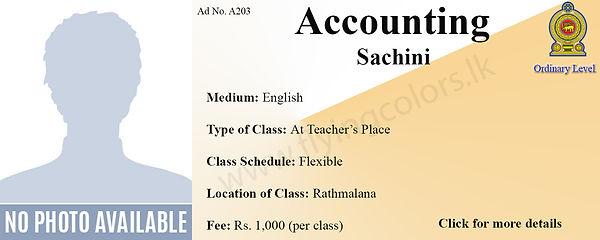 Accounts Tuition in Ratmalana Colombo | National O/L