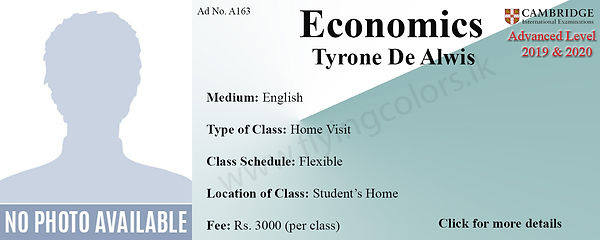 Economics Home Visit Tuition Cambridge A/L in Colombo