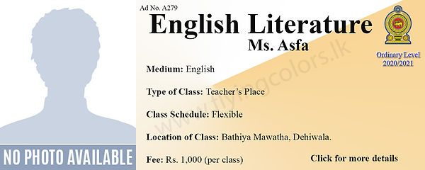 Local O level English Literature Tuition