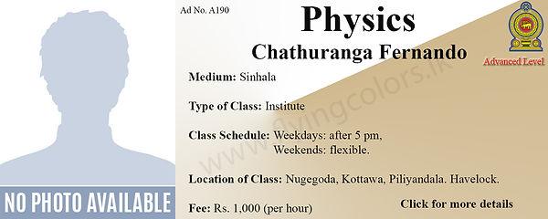 Sinhala Medium Physics National A/Level Tuition