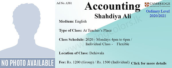 Accounts Cambridge O/L Tuition in Dehiwala Colombo