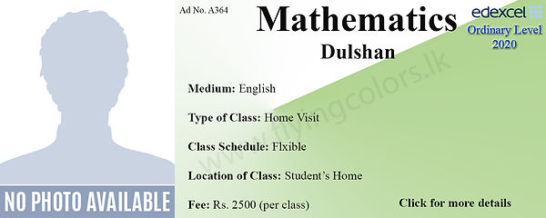 Maths Home Visit Tuition Edexcel O Levels in Colombo