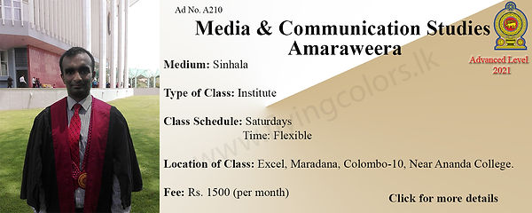 Media and Communication Studies Tuition in Maradana Colombo 10