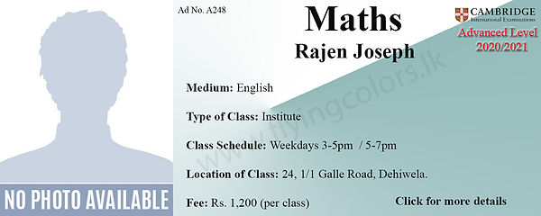 Cambridge A/Level Maths Tuition in Dehiwala Colombo |Tuition Centre in Dehiwala