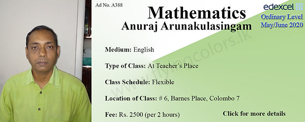 Mathematics Edexcel O/L 2020 Tuition by Mr. Anuraj Arunakulasingam in Colombo 7