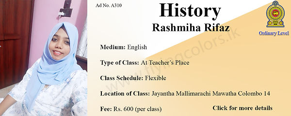 National O/L History Tuition in Colombo