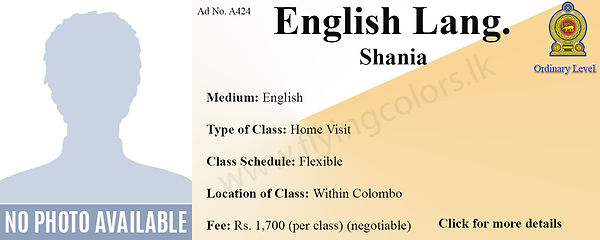 English Language National O/Ls Home visit Tuition Within Colombo.
