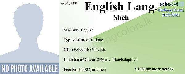 English Language Edexcel O/L Tuition in Bambalpitiya and Colpetty Colombo