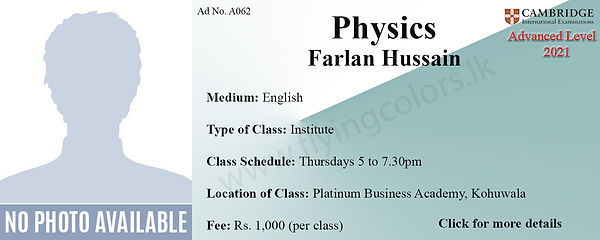 Physics Tuition Cambridge A Level at Platinum Institute Colombo