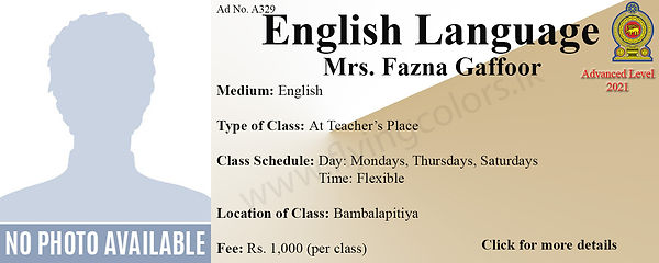 English Tuition in Local A Level Bambalapitya Colombo 4