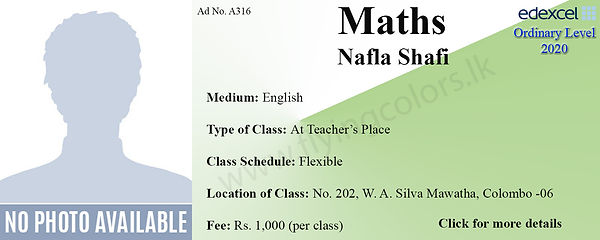 Maths Edexcel O/L Tuition in Wellawatte Colombo 6