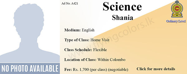 Science National O/Ls Home visit Tuition Within Colombo.