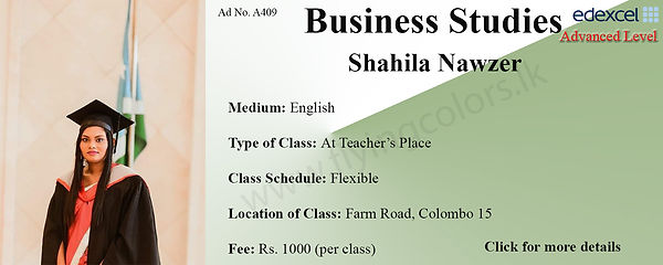 Business Studies Edexcel A/L Tuition by Ms.Shahila in Colombo 15.