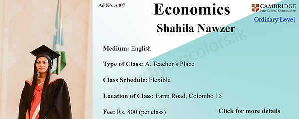 Economics Cambridge O/L Tuition by Ms. Shahila in Colombo 15.