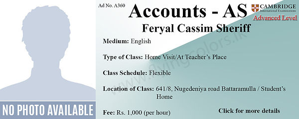 Cambridge Accounts AS Tuition in Colombo Home Visit Tuition