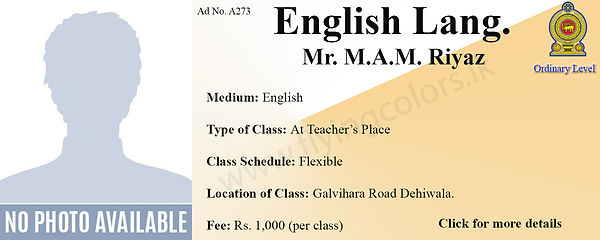 Local O Level English Tuition in Colombo