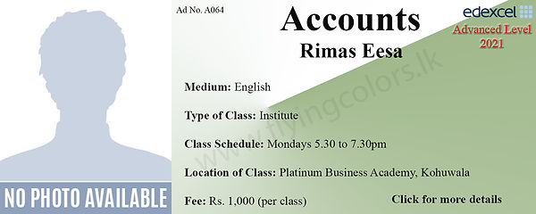 Accounts Edexcel A/L Tuition Centre in Colombo