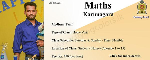 O/L Tamil Medium Home Visit Maths Tuition