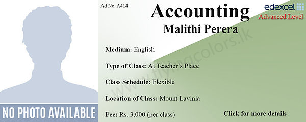 Accounts Edexcel A/L Tuition by Ms.Malithi in Mount Lavinia Colombo.