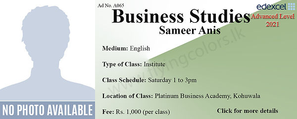 Business Studies Edexcel A/L Tuition Center in Colombo