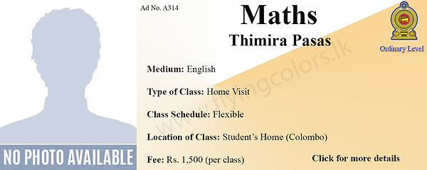 Maths Local O/L Home Visit Tuition in Colombo