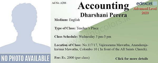 Edexcel Accounts A/L Tuition in Colombo 10 Maradana