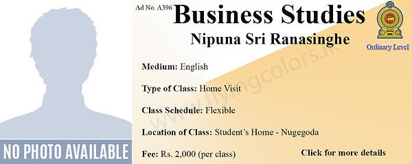 Business Studies Home Visit Tuition for GCE National O/L by Nipuna Sri Ranasinghe in Nugegoda, Colombo