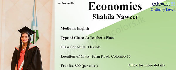 Economics Edexcel O/L Tuition by Ms.Shahila in Colombo 15.