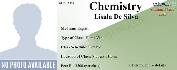 Chemistry Edexcel A/L Home Visit Tuition in Colombo by Ms. Lisala