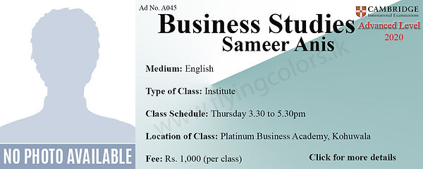 Cambridge A/L Business Studies Tuition at Platinum Institute Kohuwala Colombo