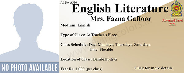 National A/L English Literature Tuition in Bambalapitiya Colombo 4