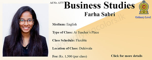 Business Studies Tuition in Dehiwala National O Level Colombo