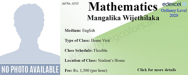 Edexcel O/L Maths Home Visit Tuition by Mangalika Wijethilaka